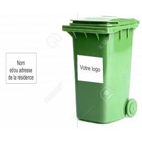 Autocollant logo ou Nom et adresse (poubelle)