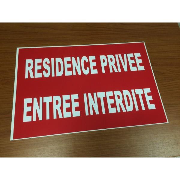 Panneau Résidence privée Entrée interdite