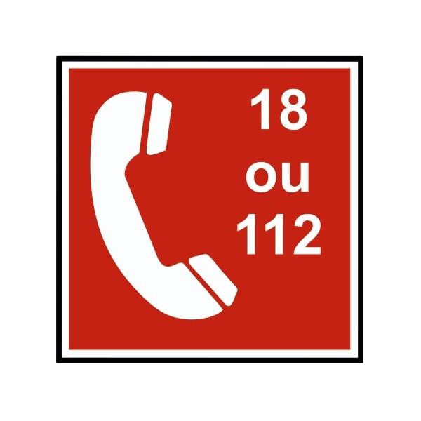 Autocollant téléphone appel pompier