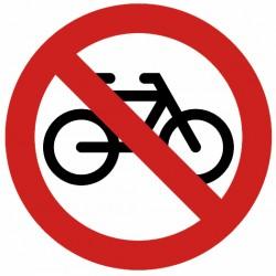 Autocollant interdit aux vélos