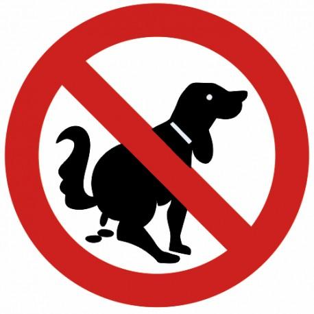 Autocollant interdit déjections et crottes de chiens