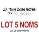 Autocollants 5 NOMS (boite aux lettres + interphone)