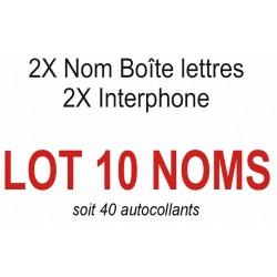 Autocollants 10 NOMS (boite aux lettres + interphone)