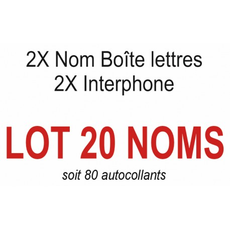 Autocollants 20 NOMS (boite aux lettres + interphone)