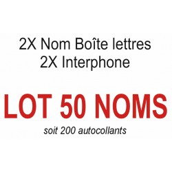 Autocollants 50 NOMS (boite aux lettres + interphone)